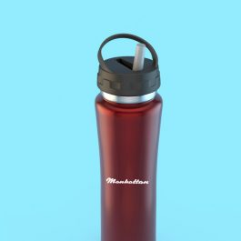 Stainless Steel 500ml Sports Bottle with Straw