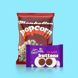 Combo Pack - A case of Manhattan Popcorn plus a case of Giant Buttons