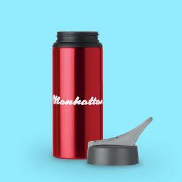 600ml Aluminium Water Bottle with Straw