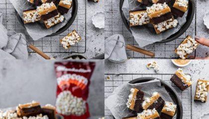 Gooey Caramel Popcorn Topped Brownies